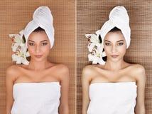 Porträt der jungen Frau an einem Badekurort, zurück liegend auf ihr und lächeln, wi Lizenzfreie Stockfotografie
