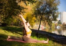 Porträt der jungen Frau im Herbststadtpark Sportmädchen, das draußen Yoga tut Lizenzfreie Stockbilder