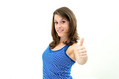 Frauenporträt mit den Daumen oben Lizenzfreies Stockfoto