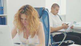 Porträt der jungen Geschäftsfrau, die im hellen modernen Büro arbeitet stock footage