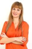 Porträt der jungen Geschäftsfrau oder des Studenten in der eleganten Kleidung Lizenzfreie Stockfotografie