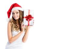 Porträt der jungen hübschen Frau, die Weihnachten und guten Rutsch ins Neue Jahr feiert Lizenzfreies Stockbild