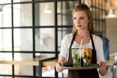 Porträt der jungen Kellnerin im Schutzblech, das Behälter mit der Auffrischung hält, trinkt stockfoto