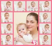 Porträt der jungen Mutter mit dem Baby und 10 Porträts des b Stockfotografie