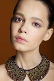 Porträt der jungen netten Frau mit Halskette lizenzfreies stockfoto
