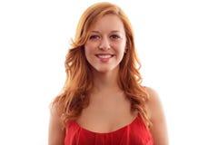 Porträt der jungen netten lächelnden Frau, über weißem Hintergrund lizenzfreies stockfoto