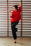 Portr?t der jungen sch?nen kaukasischen Frau im roten T-Shirt stockfoto