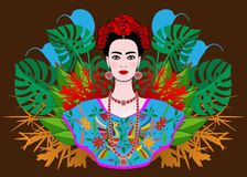Porträt der jungen schönen mexikanischen Frau mit einer traditionellen Frisur Mexikanische Juwelen, Krone von Blumen und rote Blu vektor abbildung