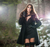 Porträt der jungen Schönheit im Freien in der Winterlandschaft Sinnlicher Brunette mit den langen Beinen in der schwarzen Strumpf Stockbild
