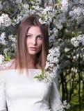 Porträt der jungen Schönheit im geblühten Garten Stockfotografie