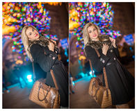 Porträt der jungen Schönheit mit dem langen angemessenen Haar im Freien am kalten Winterabend Schönes blondes Mädchen in der Wint Stockfotografie