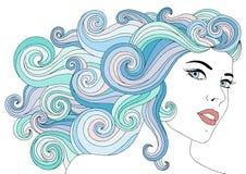 Porträt der jungen Schönheit mit mit dem Wellenblumenhaar Schablone für Visitenkarten, Werbung, Schönheitssalons Stockfoto