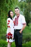 Porträt der Jungvermählten, heiratend in der ukrainischen Art Stockbild