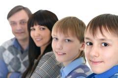 Porträt der kaukasischen vierköpfiger Familie stockfotografie