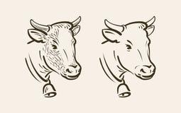 Porträt der Kuh mit Glocke Molkerei, Tiersymbol oder Ikone Dieses ist Datei des Formats EPS8 lizenzfreie abbildung