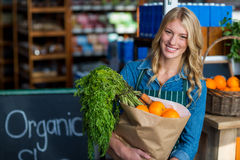 Porträt der lächelnden Frau eine Einkaufstüte im organischen Abschnitt halten Lizenzfreies Stockfoto