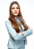 Porträt der lächelnden Geschäftsfrau-Fachmannarbeitskraft isolat Stockfoto