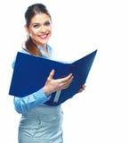 Porträt der lächelnden Geschäftsfrau lokalisiert auf weißem Hintergrund stockbilder