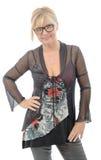 Porträt der lächelnden reifen Frau mit Brillen Lizenzfreie Stockfotos