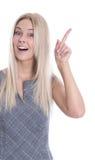 Porträt der lokalisierten hübschen Frau mit dem Zeigefinger hat eine Idee an Lizenzfreies Stockfoto