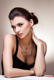 Porträt der Luxusfrau im exklusiven Schmuck Stockbild