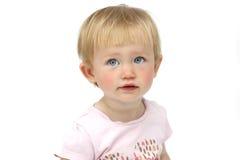 Porträt der Mädchenblondine mit blauen Augen stockfoto