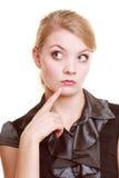Porträt der nachdenklichen Frau der thougthful Geschäftsfrau Stockfoto