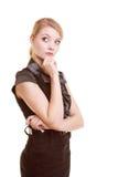 Porträt der nachdenklichen Frau der thougthful Geschäftsfrau Stockfotos