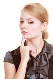 Porträt der nachdenklichen Frau der thougthful Geschäftsfrau Stockbild