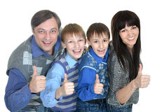 Porträt der netten vierköpfiger Familie Stockfotografie