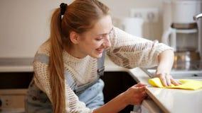 Porträt der positiven Hausfraureinigung stock footage