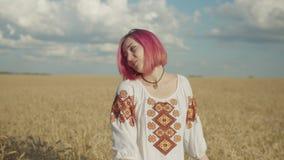 Porträt der reizenden Frau auf dem Weizengebiet bei Sonnenuntergang stock footage