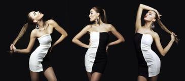 Porträt der schönen Brunettefrau im schwarzen Kleid. Mode pho Stockbilder