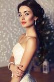 Porträt der schönen eleganten Braut mit dem dunklen Haar, das am Studio aufwirft Lizenzfreie Stockfotos