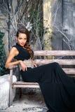 Porträt der schönen eleganten jungen Frau im herrlichen Abendkleid über Weihnachtshintergrund Stockbilder