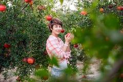 Porträt der schönen jungen Frau im roten karierten Hemd, das Kamera betrachtet und reife organische pomegrate Früchte im Garten a Stockfoto