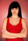Porträt der schönen jungen Frau lokalisiert Stockbild