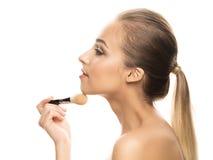 Porträt der schönen jungen Frau mit Make-up Lizenzfreie Stockfotografie
