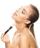 Porträt der schönen jungen Frau mit Make-up Stockfotos