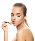Porträt der schönen jungen Frau mit Make-up Lizenzfreies Stockbild