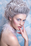 Porträt der schönen jungen Frau mit silbernen Weihnachtsbällen Fantasiemädchenporträt Winterfeenporträt Junge Frau mit kreativem  Lizenzfreies Stockfoto