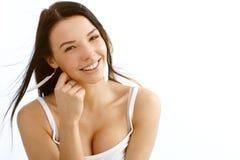Porträt der schönen lächelnden Frau Stockbild