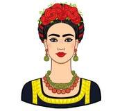 Porträt der schönen mexikanischen Frau in der alten Kleidung Boho-Chic, ethnisch, Weinlese stock abbildung