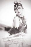 Porträt der schönen Retro- Frauenzwanziger jahre - dreißiger Jahre Stockfotografie