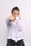 Porträt der schöner und des Athleten jungen Frau Stockfotos