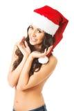 Porträt der Schönheit Weihnachtsmann-Hut tragend Stockbilder