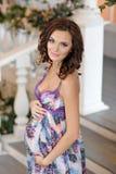 Porträt der sehr schönen schwangeren Brunettefrau im Purpur herein Lizenzfreies Stockbild