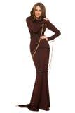 Porträt der sexy Frau in einem braunen Kleid Lizenzfreie Stockfotografie