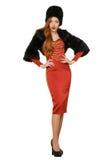 Porträt der sexy Frau in einem roten Kleid Lizenzfreie Stockfotos