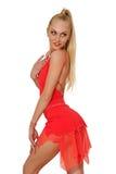 Porträt der sexy Frau in einem roten Kleid Stockbild